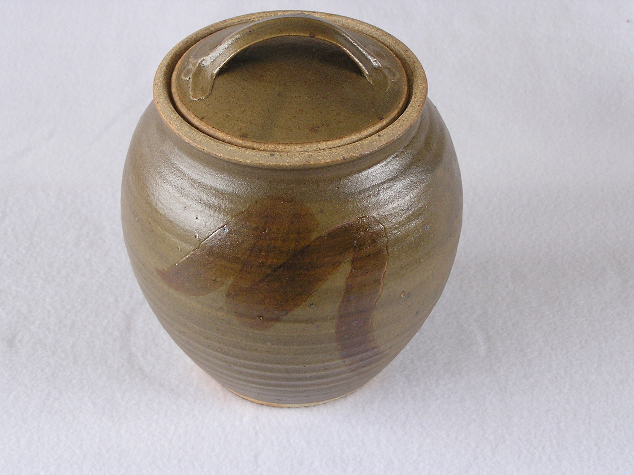 Canister- Olive w Brown Accent 6x7