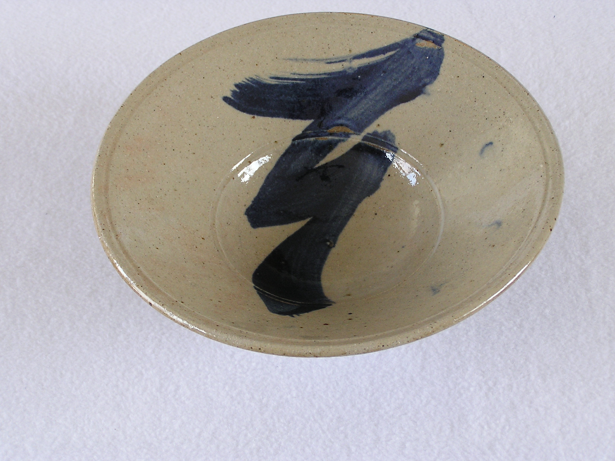Bowl- Flared Rim, Lt Brown w Blue Accent