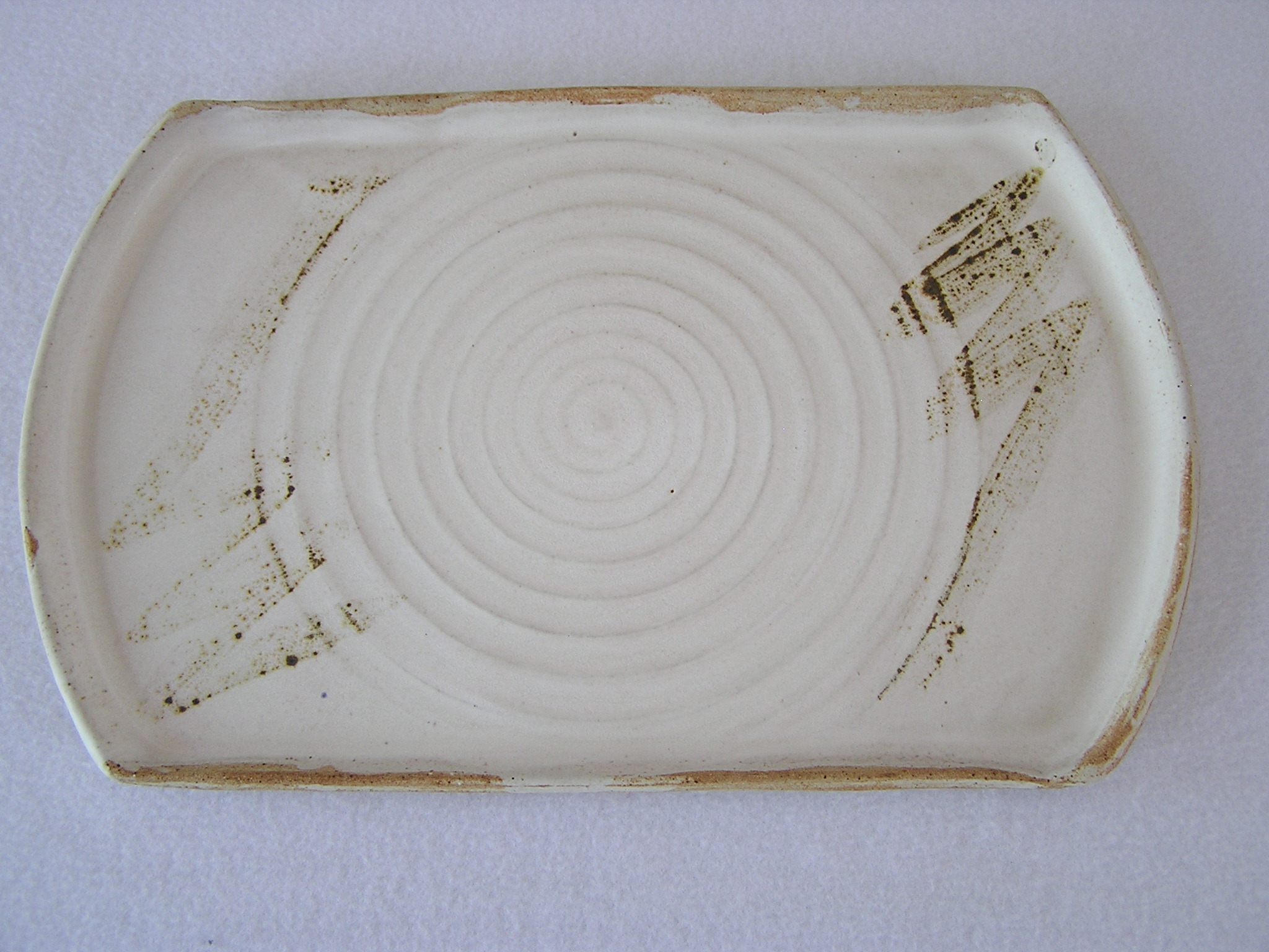 Platter- Pearl White w Brown Accent 13 i