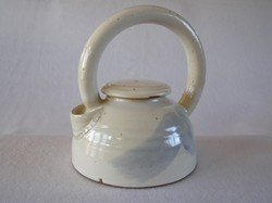 Teapot- Alabaster with Lt Blue Accent 9x