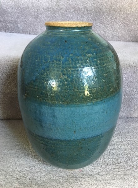 Vase- Dark Teal w Ocean Blue Accent 8