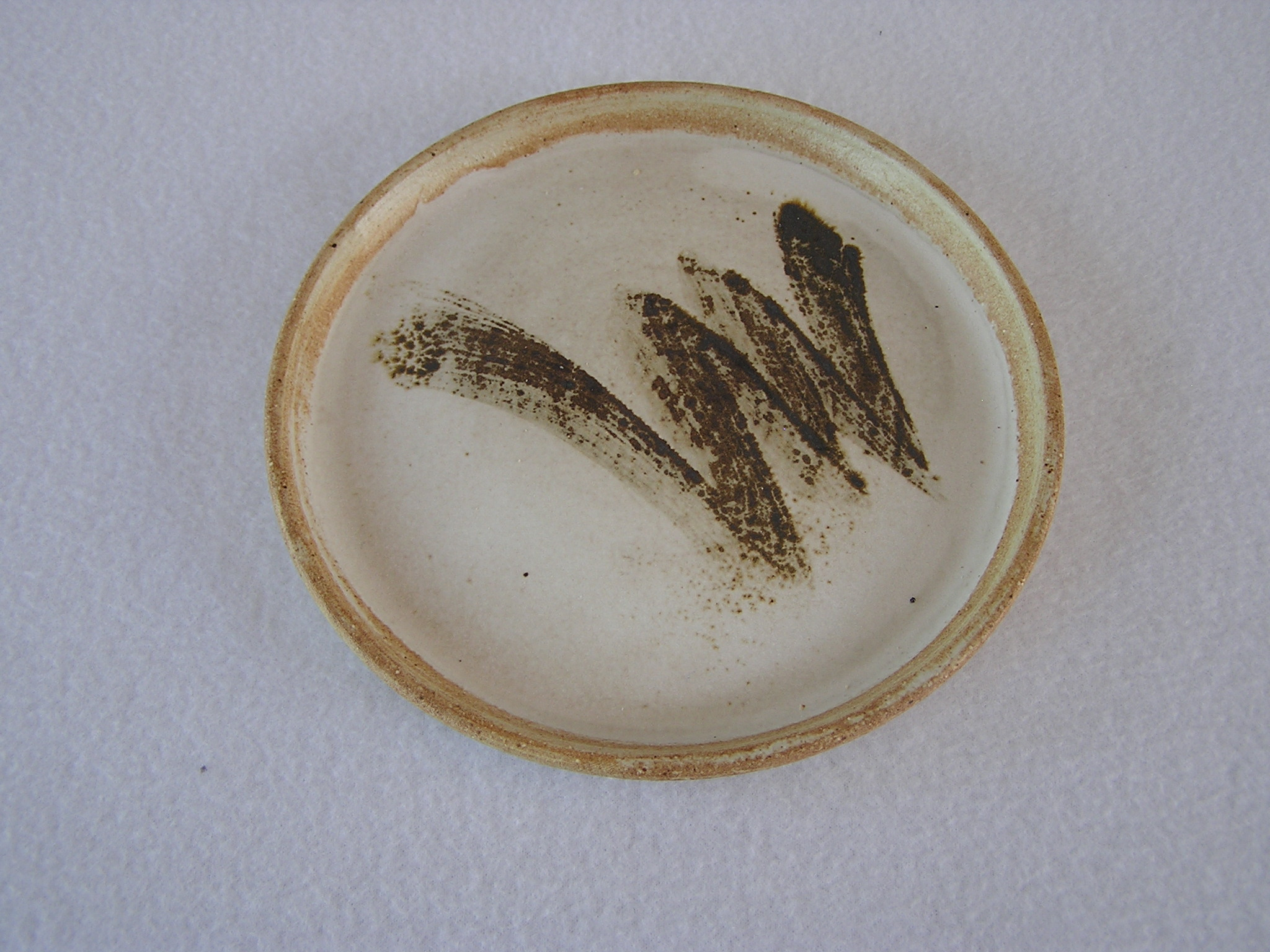 Plate- Alabaster White w Brown Accent 6