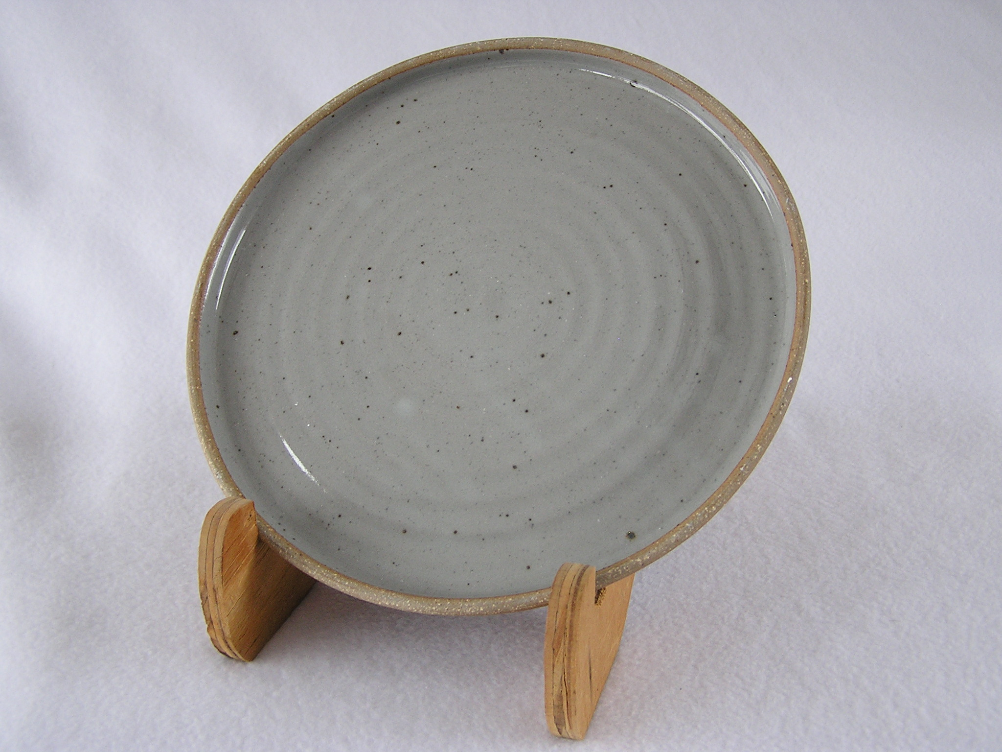 Plate- Dove Grey Glazed Bottom .5x8