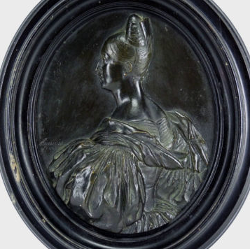 Antique Bronze Bas Relief Portrait of Marie Amelie de Bourbon