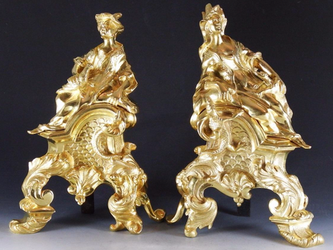 Antique Chinoiserie French Gilt-Bronze Chenets