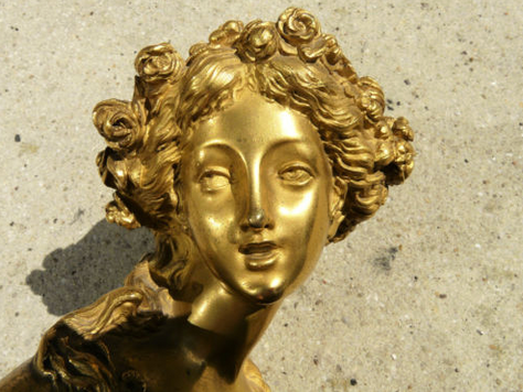 Louis XVI gilt bronze bust of Flora