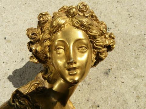 Louis XVI gilt bronze bust of Flora