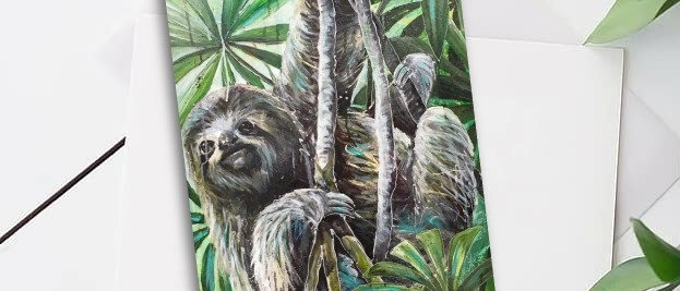 """Sloth"" A5 Greeting Card"