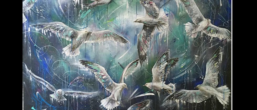 """""""Spirited"""" Hand embellished print"""