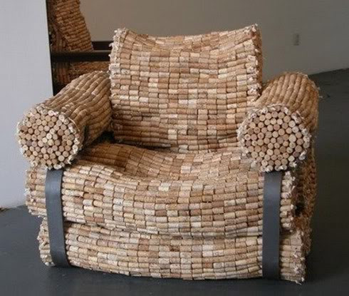 Cadeira de rolhas de cortiça (rolhas de garrafas de vinho)