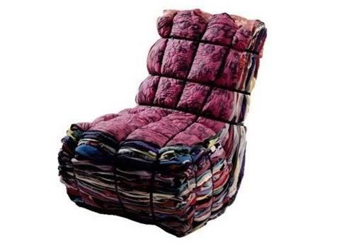 Cadeira de retalhos de tecido
