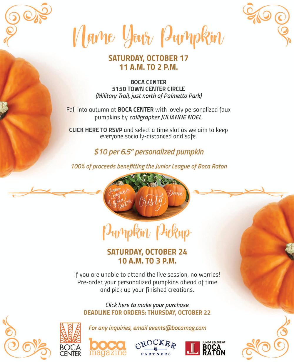 Name Your Pumpkin Event | #FallFeelsatBocaCenter