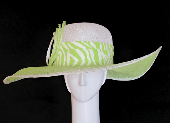 Katrina (Lime Green and White Derby Hat