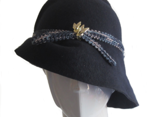Navy Winter Wool Felt Hat