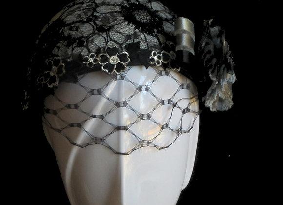 Julia (Black and Grey Lace Fascinator)