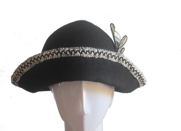 Black Winter Wool Felt Hat