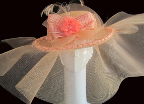 Monique (Peach Derby Hat)