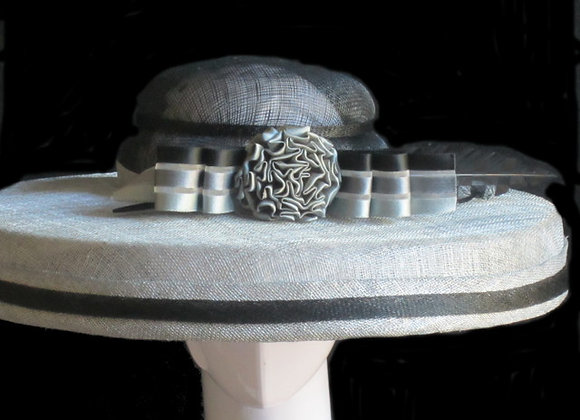 Staci (Black and Silver Derby Hat)