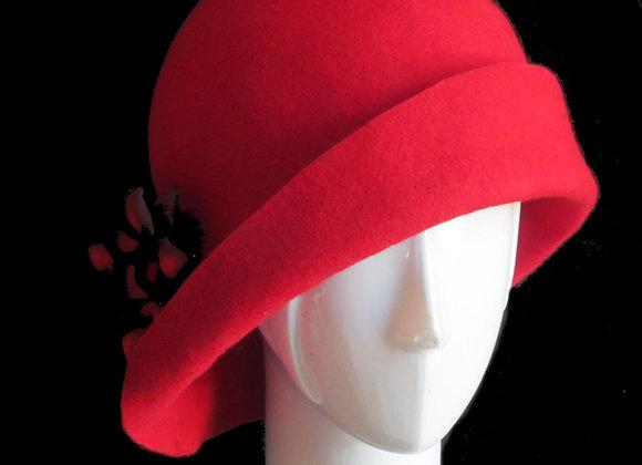 Red Winter Wool Felt Hat
