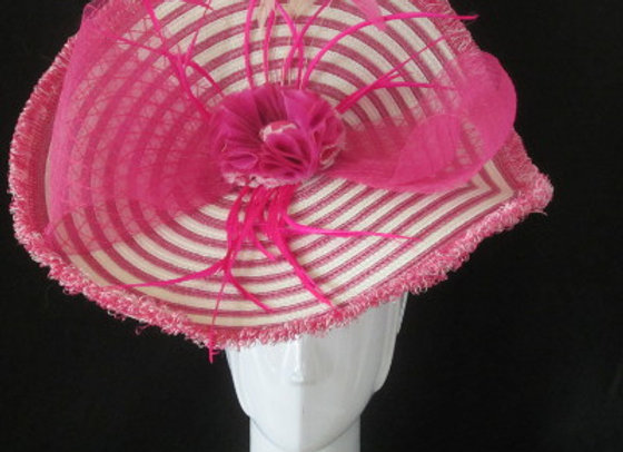 Olivia (Pink and White Stripe Derby Fascinator