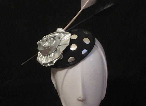 Christy (Black and Silver Polka Dot Fascinator