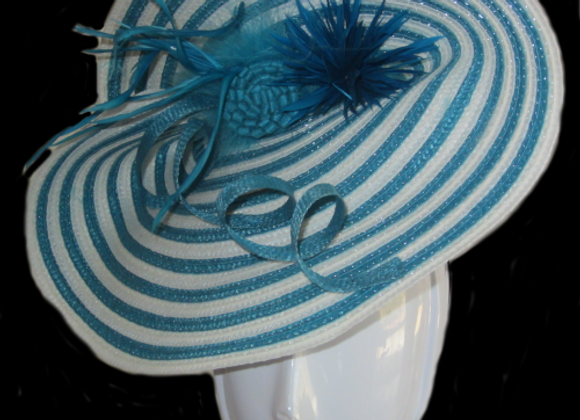 Sheila (Turquiose and White Striped Derby Hat)