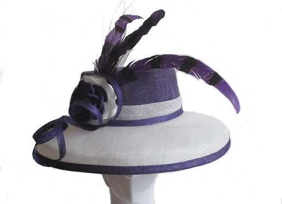 Stephanie (Purple and White Derby Hat)