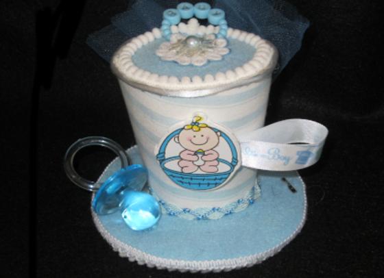 Baby Shower Mini Top Hat (Blue)