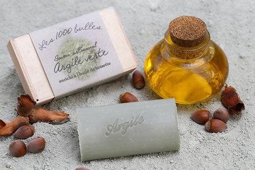Savon argile verte enrichi à l'huile de noisette
