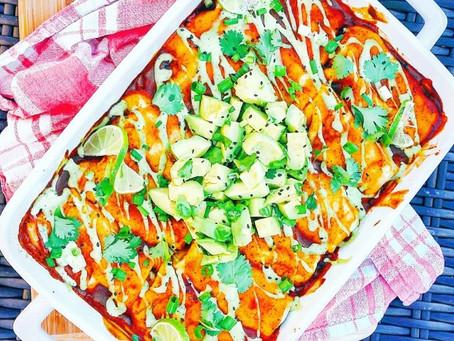Veggie Enchiladas w/ Creamy Cilantro Lime Sauce