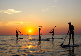 Paddle surf trip expirience with ibiza danza platform while watching the sunset