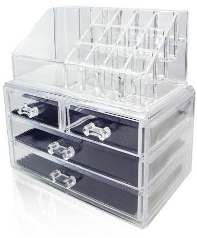 منظم و صندوق المكياج - اكريليك - شفاف