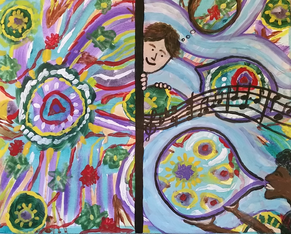 Two versions of an intuitive art painting.
