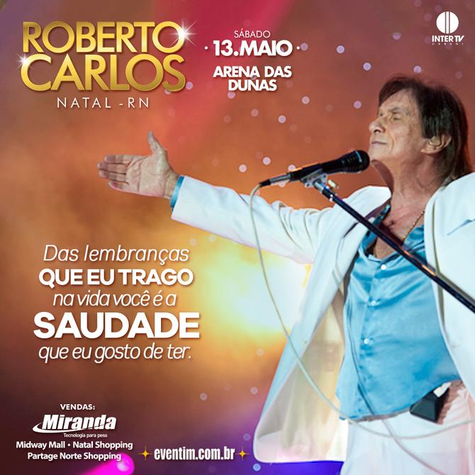 Aviso de credenciamento de mídias para o show de Roberto Carlos