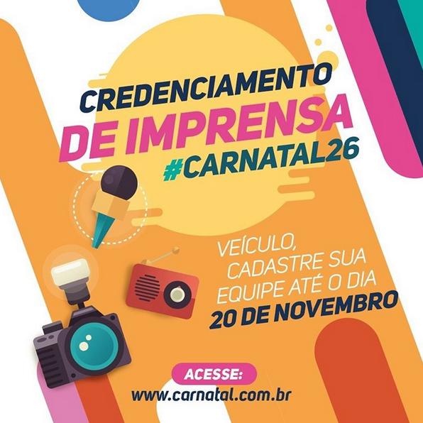 Credenciamento da mídia para o Carnatal 2016 encerra neste domingo
