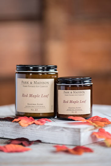 Park & Madison Red Maple Leaf Candle