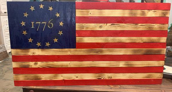 1776 Wooden Carved Flag