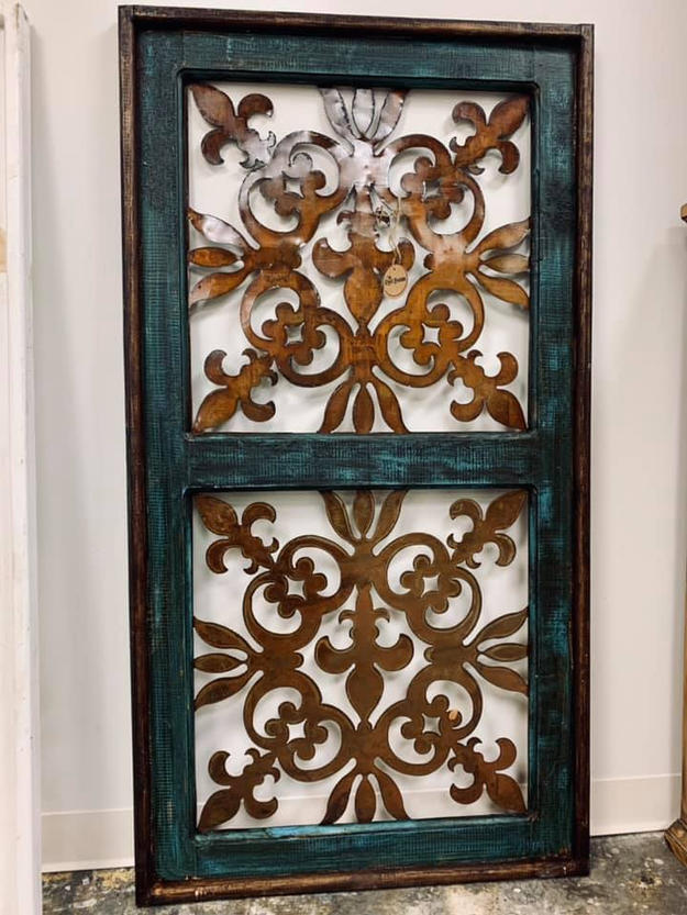 Teal and Iron Decor Piece- Large