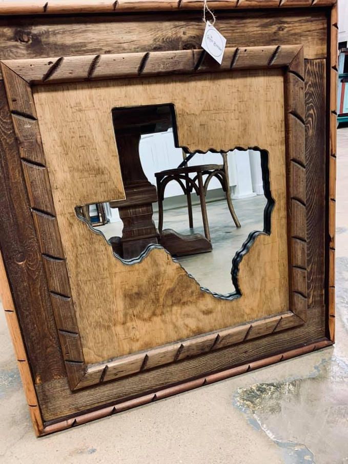 Rustic Texas Mirror- Wooden
