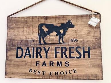 Wooden Dairy FRESH Sign