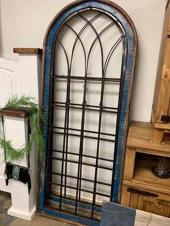 """Royal Blue Distressed Cathedral Windows73""""H"""