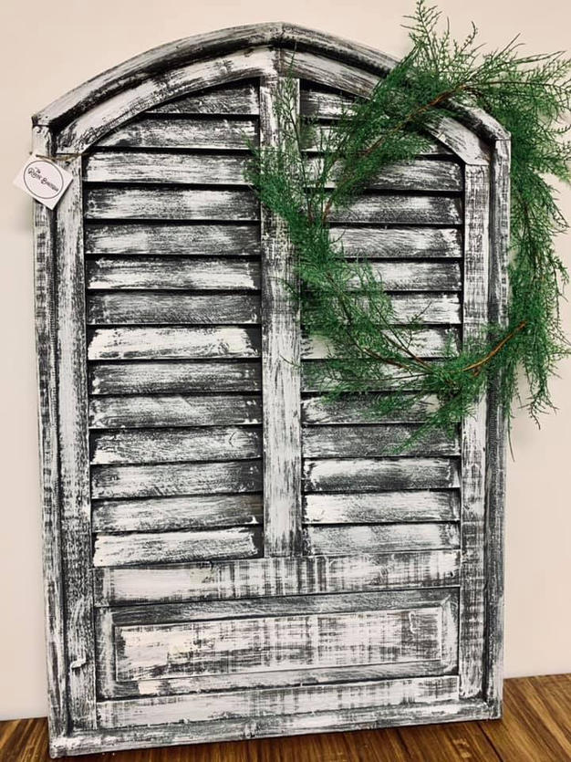 Grey & White Shutter Window