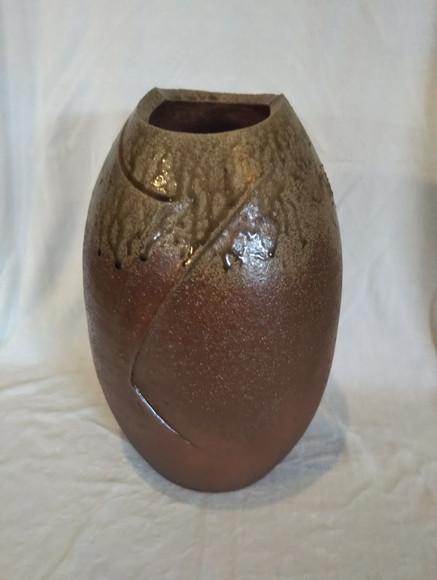 灰釉焼締壺