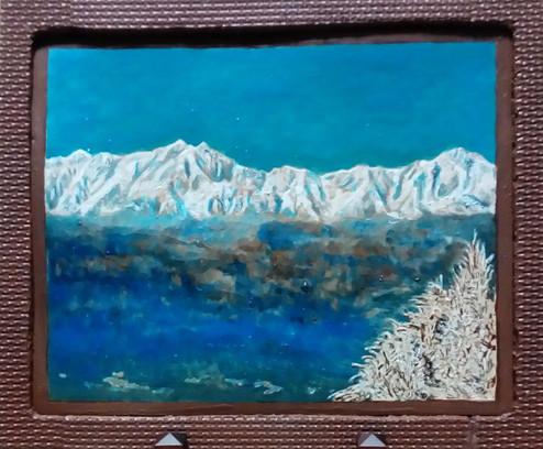 陶板画 曇上の北アルプス