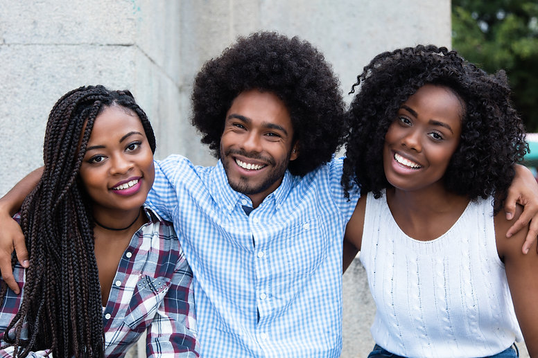 African american hipster man with two be