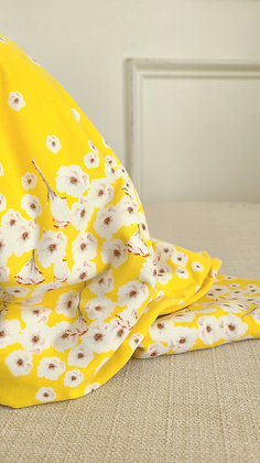 Floral Yellow Stretch Knit Fabric (Remnant)