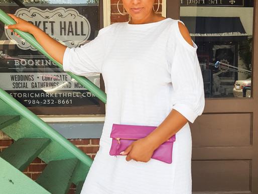 Mini Leather Clutch & DIY Knit Dress