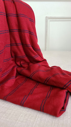 Red and Navy Ribbed Knit Fabric (Remnant)