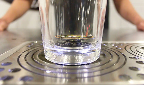 How does bottoms up work bottoms up glass pint sitting on dispenser with valve in the open position