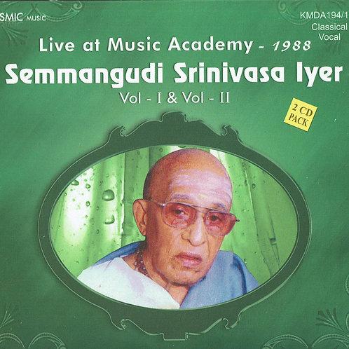【男性ボーカル・CD2枚組】   「Live at Music Academy 1988」 / Semmangudi Srinivasa Iyer